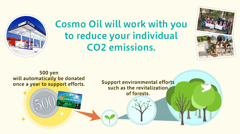 Cosmo Oil will work with you to reduce your individual CO2 emissions.