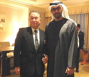 写真 左:岡部敬一郎 コスモ石油名誉会長 右:モハメッド・アブダビ皇太子殿下 ... 岡部名誉会
